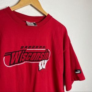 Vintage Puma Wisconsin Badgers Embroidered T Shirt